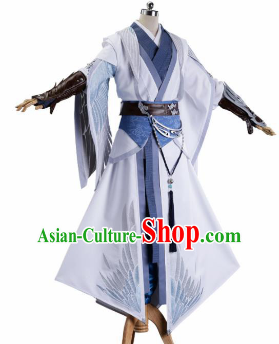 Chinese Traditional Cosplay Knight Nobility Childe White Costume Ancient Swordsman Hanfu Clothing for Men