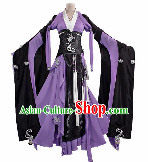 Chinese Traditional Cosplay Peri Princess Costume Ancient Swordswoman Purple Hanfu Dress for Women
