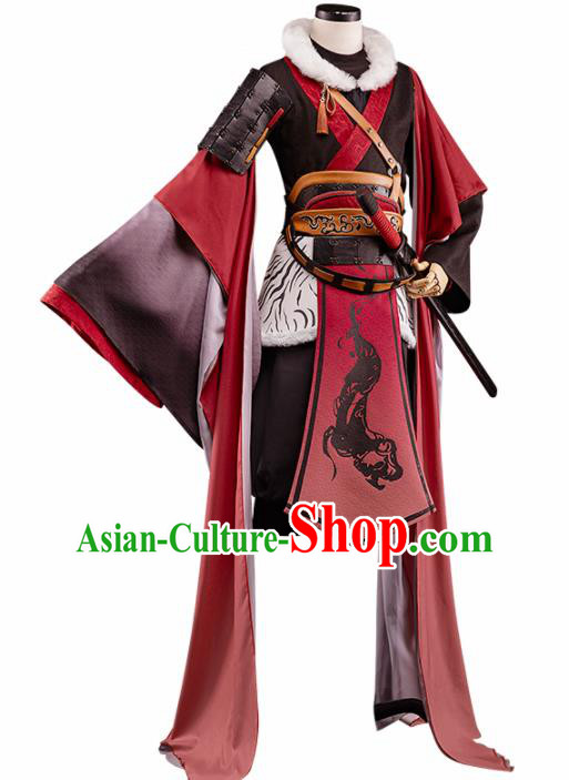 Chinese Traditional Cosplay Swordsman Costume Ancient Knight Hanfu Clothing for Men