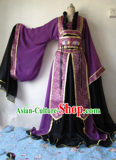 Chinese Traditional Court Queen Costume Ancient Empress Purple Hanfu Dress for Women