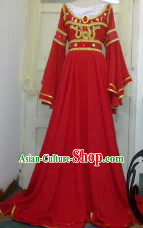 Chinese Traditional Cosplay Costume Ancient Peri Red Hanfu Dress for Women