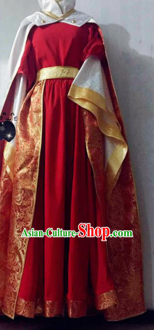 Chinese Traditional Cosplay Swordswoman Costume Ancient Palace Lady Red Hanfu Dress for Women