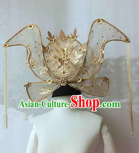 Chinese Traditional Hanfu Golden Phoenix Coronet Cosplay Princess Hair Accessories Ancient Imperial Consort Hairpins for Women