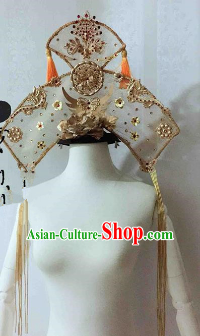 Chinese Traditional Golden Phoenix Coronet Ancient Imperial Consort Hair Accessories Hairpins for Women