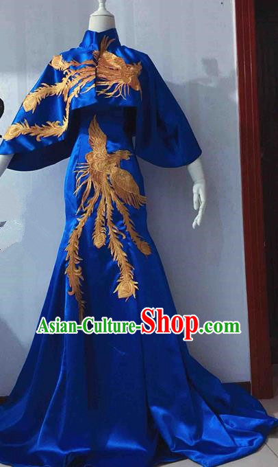 Traditional Chinese Modern Fancywork Costume National Cheongsam Embroidered Phoenix Blue Full Dress for Women