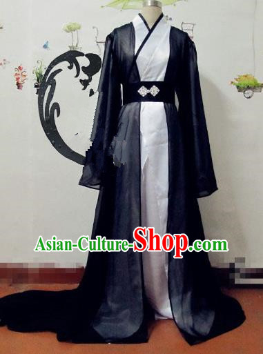 Chinese Traditional Cosplay Knight Costume Ancient Swordsman Black Hanfu Clothing for Men