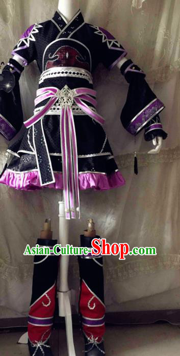 Chinese Traditional Cosplay Swordswoman Costume Ancient Peri Princess Black Hanfu Dress for Women