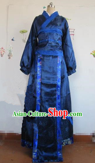 Chinese Traditional Cosplay Qin Dynasty Costume Ancient Swordsman Blue Hanfu Clothing for Men