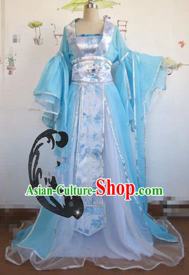 Chinese Traditional Cosplay Princess Blue Costume Ancient Peri Palace Lady Hanfu Dress for Women