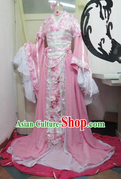 Chinese Traditional Court Princess Costume Ancient Peri Pink Hanfu Dress for Women