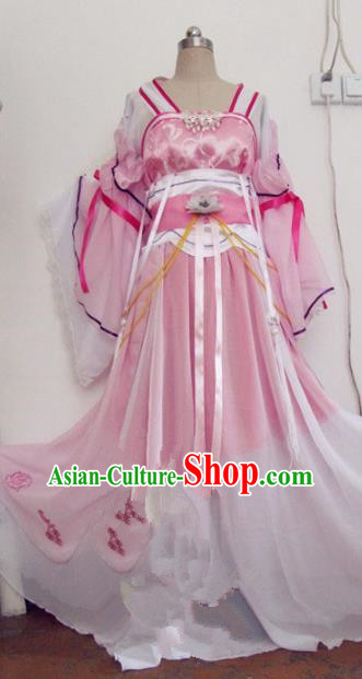 Chinese Traditional Cosplay Princess Swordswoman Costume Ancient Peri Goddess Rosy Hanfu Dress for Women