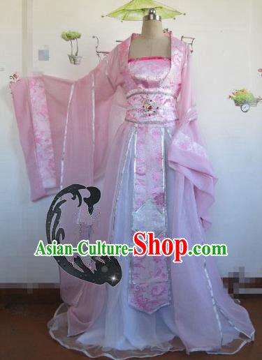 Chinese Traditional Cosplay Princess Costume Ancient Peri Pink Hanfu Dress for Women