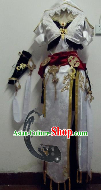 Chinese Traditional Cosplay Kung Fu Instructor Costume Ancient Peri Swordswoman White Hanfu Dress for Women