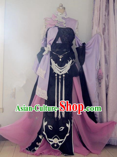 Chinese Traditional Cosplay Costume Ancient Peri Swordswoman Hanfu Dress for Women