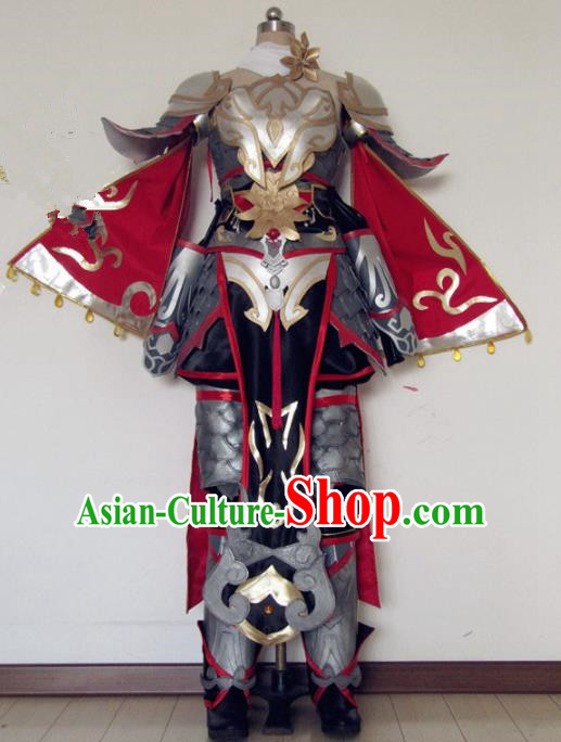 Chinese Traditional Cosplay Female General Body Armour Costume Ancient Swordswoman Hanfu Dress for Women