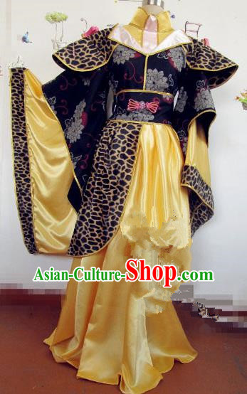 Chinese Traditional Cosplay Princess Wedding Costume Ancient Peri Golden Hanfu Dress for Women
