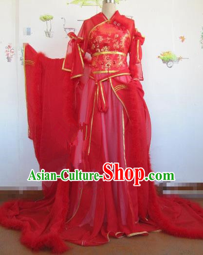 Chinese Traditional Cosplay Princess Wedding Costume Ancient Peri Red Hanfu Dress for Women