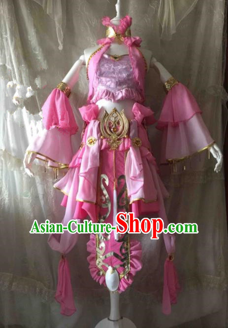 Chinese Traditional Cosplay Swordswoman Costume Ancient Peri Pink Hanfu Dress for Women