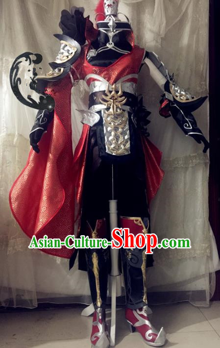 Chinese Traditional Cosplay Costume Swordswoman Body Armour Ancient Female General Hanfu Dress for Women