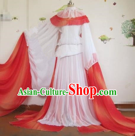Chinese Traditional Cosplay Princess Costume Ancient Peri White Hanfu Dress for Women
