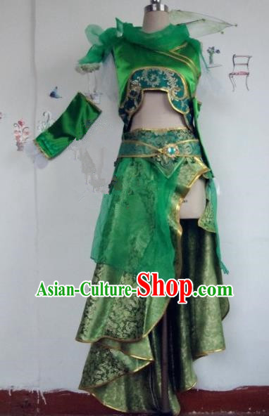 Chinese Traditional Cosplay Swordswoman Costume Ancient Peri Green Hanfu Dress for Women