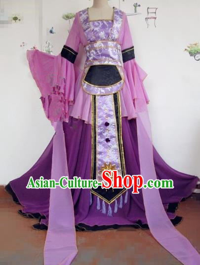 Chinese Traditional Cosplay Swordswoman Costume Ancient Peri Princess Purple Hanfu Dress for Women