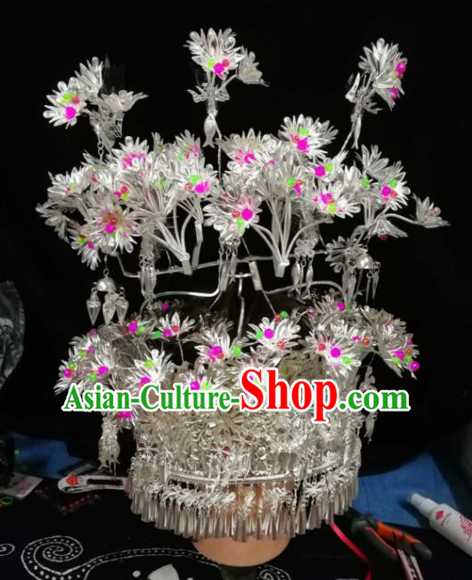 Chinese Traditional Ethnic Headwear Miao Nationality Bride Wedding Sliver Phoenix Coronet for Women