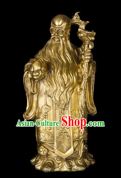 Chinese Traditional Feng Shui Items Taoism Bagua Brass Longevity God Statue Decoration