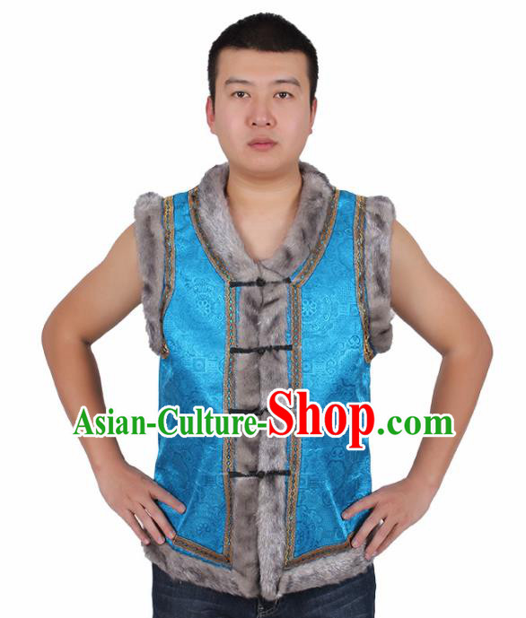 Chinese Traditional Ethnic Costumes Mongol Nationality Blue Brocade Waistcoat Vest for Men