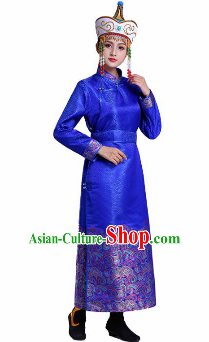 Chinese Traditional Mongolian Ethnic Costumes Mongol Nationality Royalblue Dress for Women