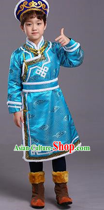 Chinese Traditional Ethnic Children Costumes Mongol Nationality Blue Brocade Robe for Kids