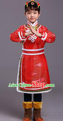 Chinese Traditional Ethnic Children Costumes Mongol Nationality Red Brocade Robe for Kids