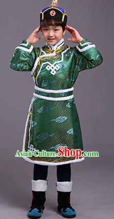 Chinese Traditional Ethnic Children Costumes Mongol Nationality Green Brocade Robe for Kids