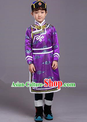Chinese Traditional Ethnic Children Costumes Mongol Nationality Purple Brocade Robe for Kids