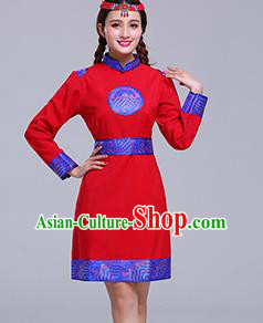 Chinese Traditional Mongolian Ethnic Female Costumes Mongol Nationality Red Dress for Women
