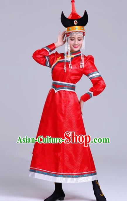 Chinese Traditional Mongolian Ethnic Wedding Costumes Mongol Nationality Princess Red Dress for Women