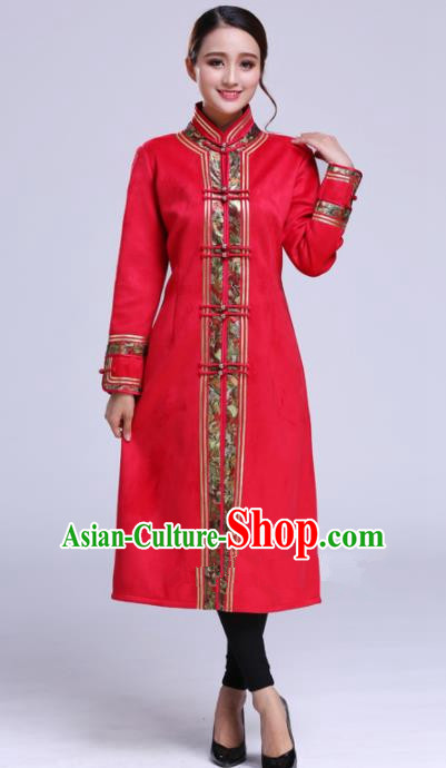 Chinese Traditional Mongolian Outwear Ethnic Costumes Mongol Nationality Red Dust Coat for Women