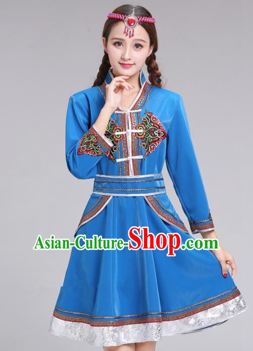 Chinese Traditional Mongolian Ethnic Blue Short Dress Mongol Nationality Costumes for Women