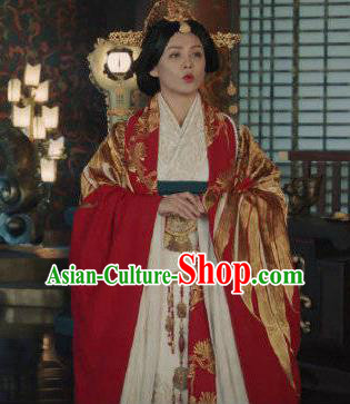 The Lengend of Haolan Chinese Ancient Warring States Period Queen Embroidered Historical Costume and Headpiece for Women