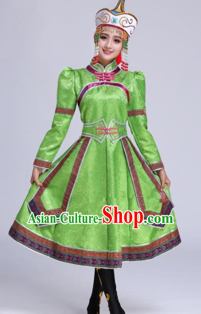 Chinese Traditional Mongolian Ethnic Folk Dance Green Dress Mongol Nationality Costumes for Women