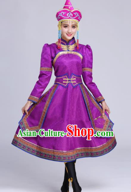 Chinese Traditional Mongolian Ethnic Folk Dance Purple Dress Mongol Nationality Costumes for Women