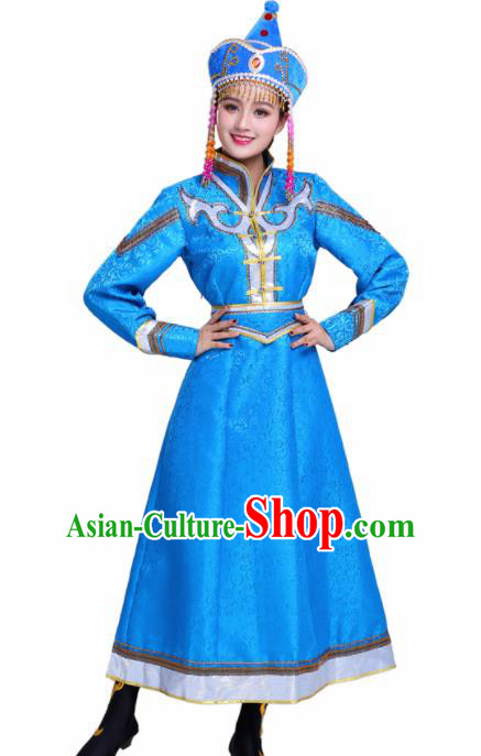 Chinese Traditional Mongolian Ethnic Blue Dress Mongol Nationality Folk Dance Costumes for Women