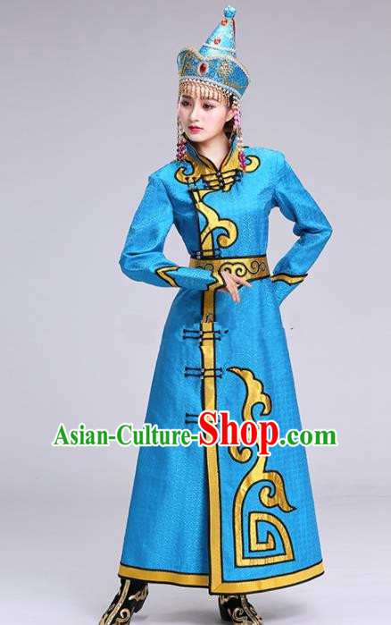 Chinese Traditional Mongolian Ethnic Princess Blue Dress Mongol Nationality Folk Dance Costumes for Women