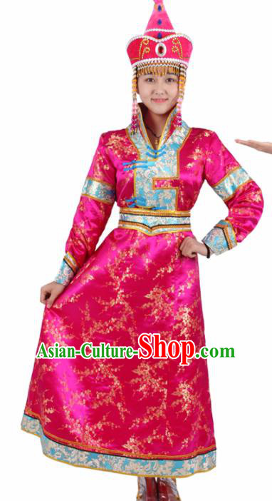 Chinese Traditional Mongolian Ethnic Rosy Brocade Dress Mongol Nationality Folk Dance Costumes for Women