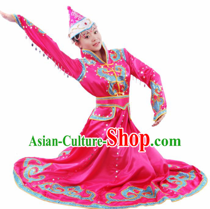 Chinese Traditional Mongolian Folk Dance Rosy Dress Mongol Nationality Ethnic Costume for Women
