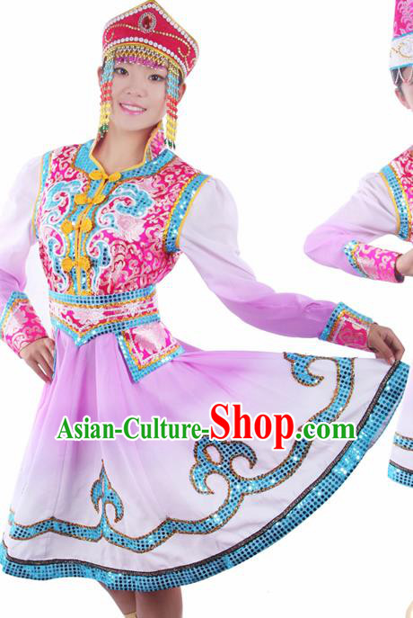 Chinese Traditional Mongolian Folk Dance Purple Dress Mongol Nationality Ethnic Costume for Women