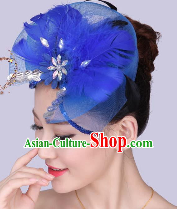 Chinese Traditional Yangko Dance Royalblue Feather Bowknot Hair Claw National Folk Dance Hair Accessories for Women
