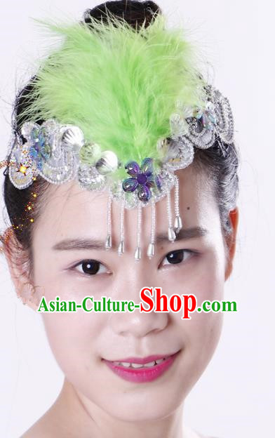 Chinese Traditional Yangko Dance Green Feather Tassel Hair Clasp National Folk Dance Hair Accessories for Women
