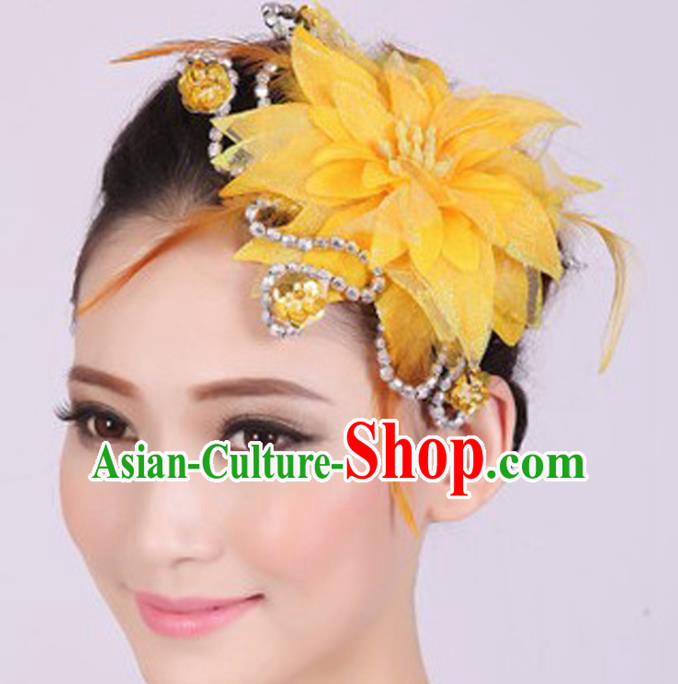 Chinese Traditional Yangko Dance Yellow Veil Peony Feather Hair Claw National Folk Dance Hair Accessories for Women