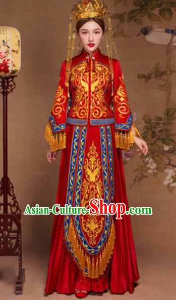 Traditional Chinese Red Wedding Dress Ancient Bride Embroidered Butterfly Xiu He Costume for Women